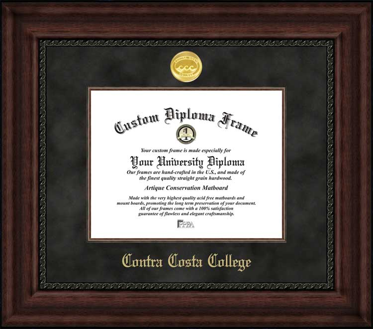 College - Contra Costa College Comets - Gold Medallion - Suede Mat - Mahogany - Diploma Frame