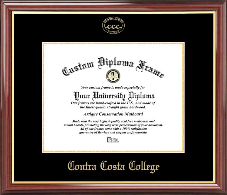 College - Contra Costa College Comets - Embossed Logo - Mahogany Gold Trim - Diploma Frame