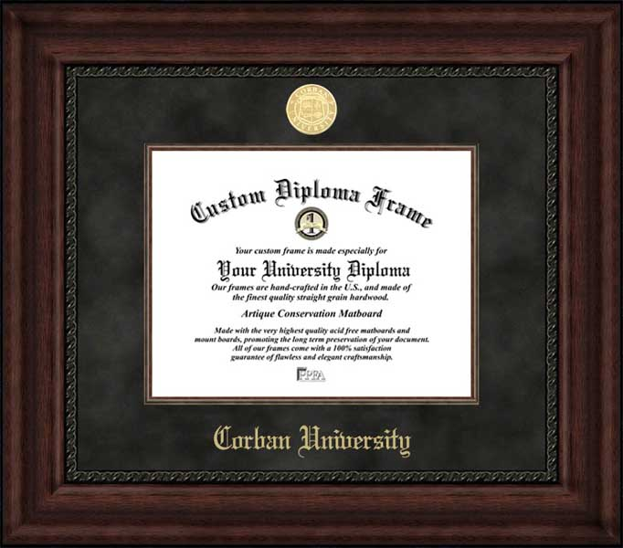 College - Corban University Warriors - Gold Medallion - Suede Mat - Mahogany - Diploma Frame