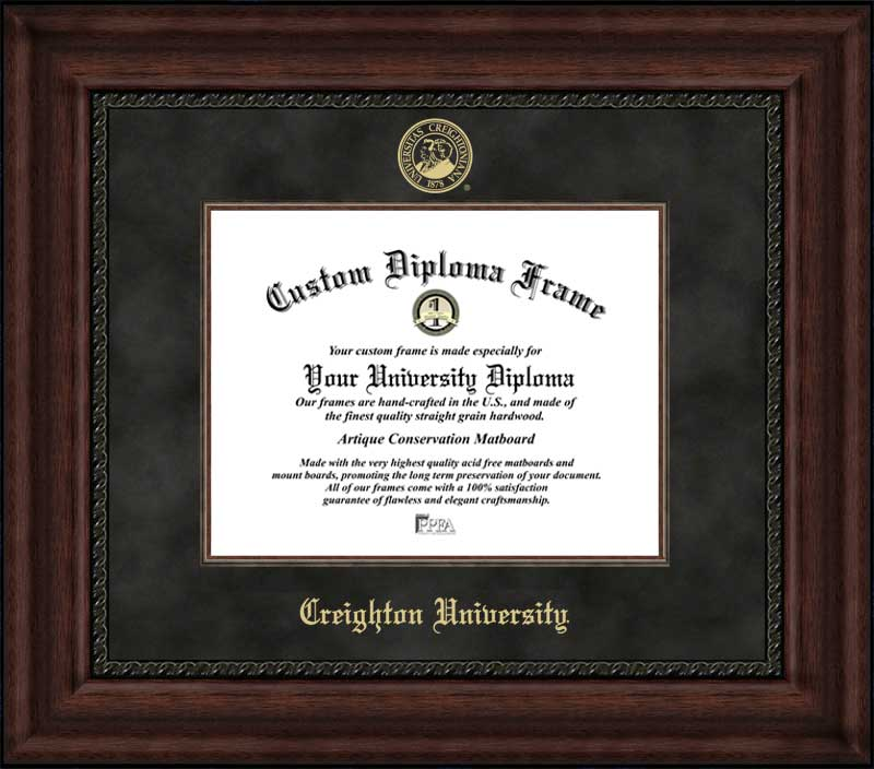 College - Creighton University Bluejays - Embossed Seal - Suede Mat - Mahogany - Diploma Frame