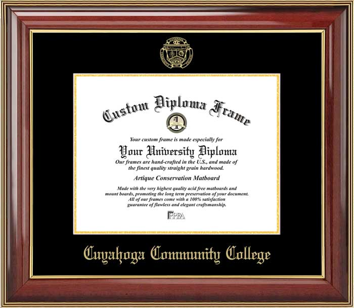 College - Cuyahoga Community College Challengers - Embossed Seal - Mahogany Gold Trim - Diploma Frame
