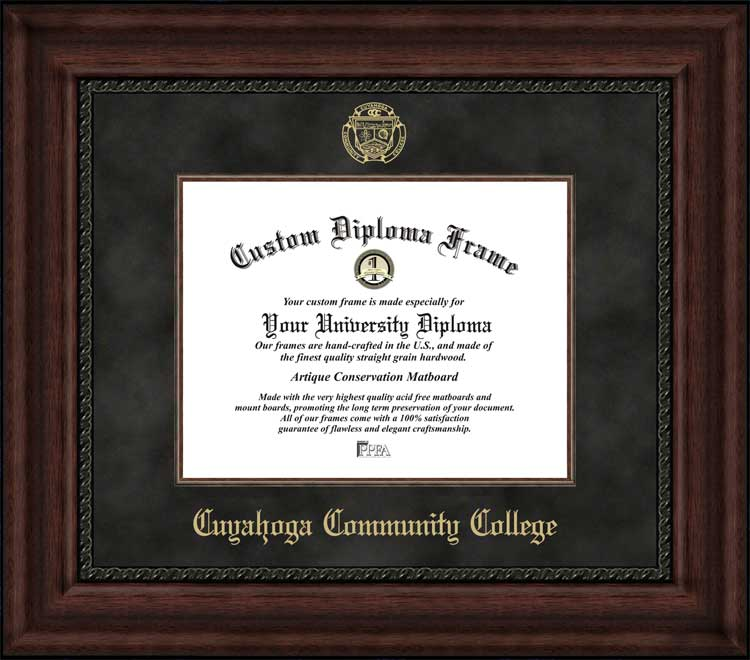 College - Cuyahoga Community College Challengers - Embossed Seal - Suede Mat - Mahogany - Diploma Frame