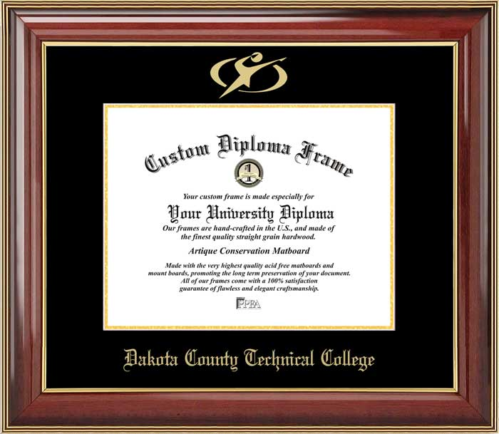 College - Dakota County Technical College Blue Knights - Embossed Logo - Mahogany Gold Trim - Diploma Frame