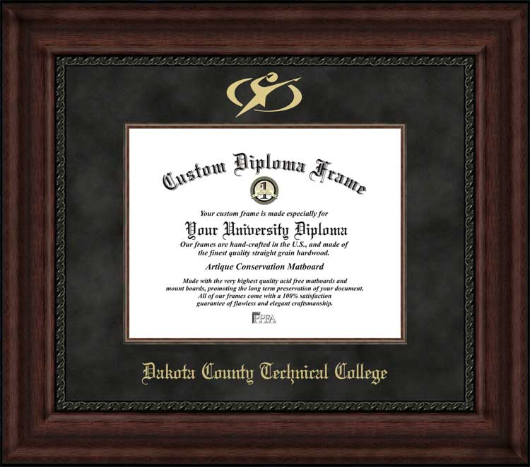 College - Dakota County Technical College Blue Knights - Embossed Logo - Suede Mat - Mahogany - Diploma Frame