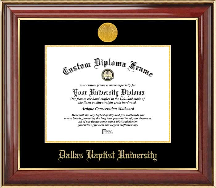 College - Dallas Baptist University Patriots - Gold Medallion - Mahogany Gold Trim - Diploma Frame