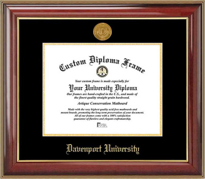 College - Davenport University Panthers - Gold Medallion - Mahogany Gold Trim - Diploma Frame