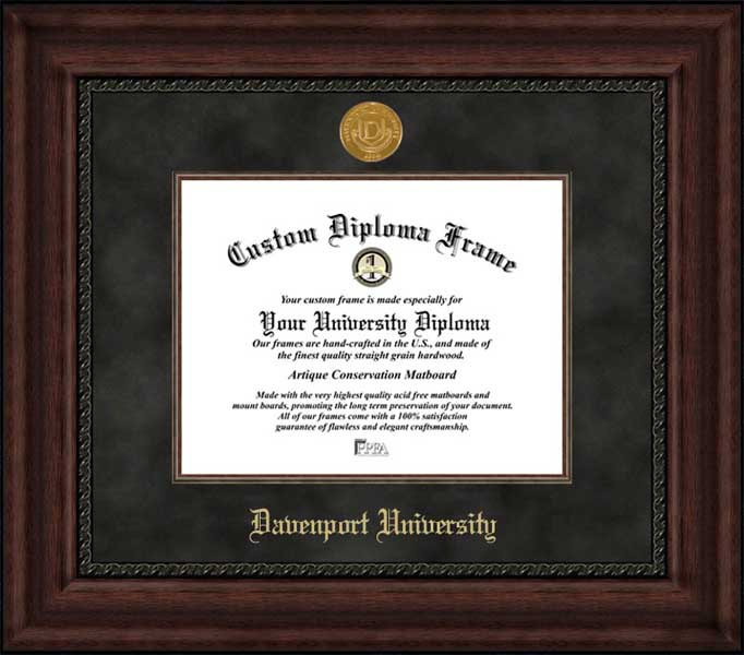 College - Davenport University Panthers - Gold Medallion - Suede Mat - Mahogany - Diploma Frame