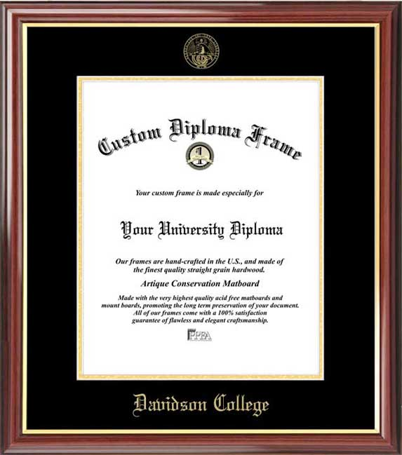 College - Davidson College Wildcats - Embossed Seal - Mahogany Gold Trim - Diploma Frame