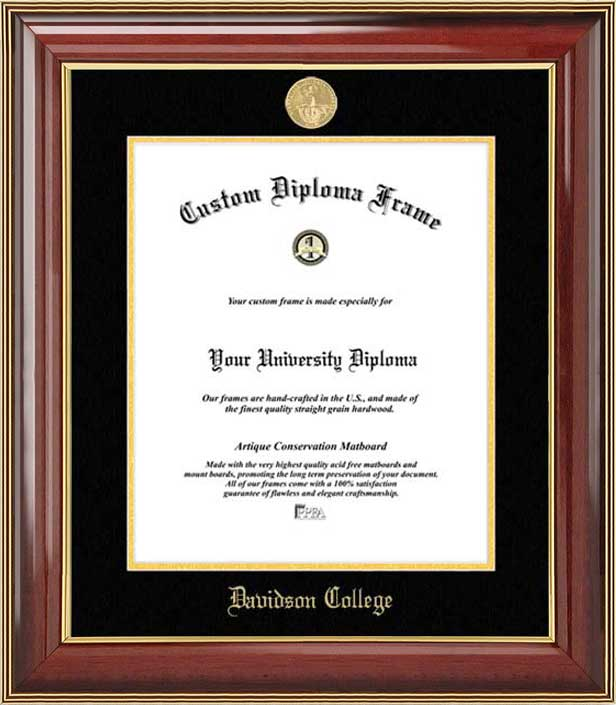 College - Davidson College Wildcats - Gold Medallion - Mahogany Gold Trim - Diploma Frame