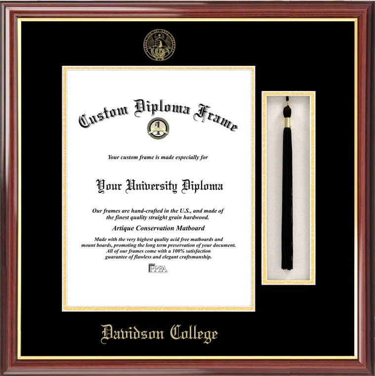 College - Davidson College Wildcats - Embossed Seal - Tassel Box - Mahogany - Diploma Frame