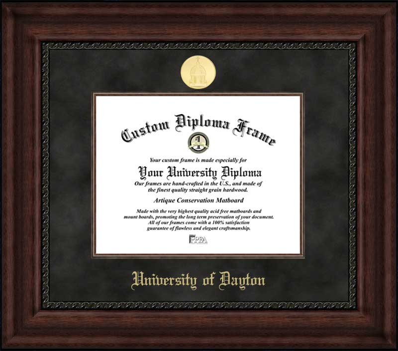 College - University of Dayton Flyers - Gold Medallion - Suede Mat - Mahogany - Diploma Frame