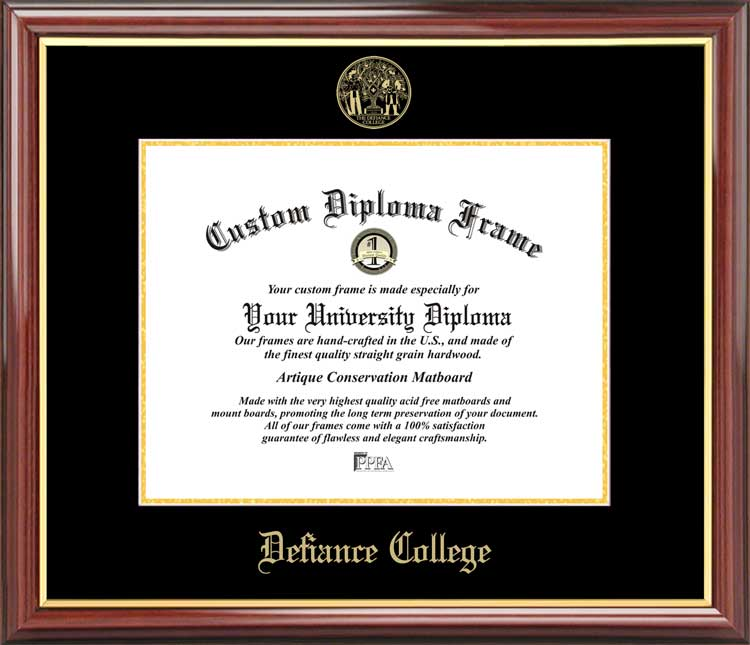 College - Defiance College Yellow Jackets - Embossed Seal - Mahogany Gold Trim - Diploma Frame