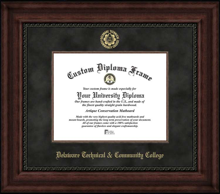 College - Delaware Technical Community College  - Embossed Seal - Suede Mat - Mahogany - Diploma Frame