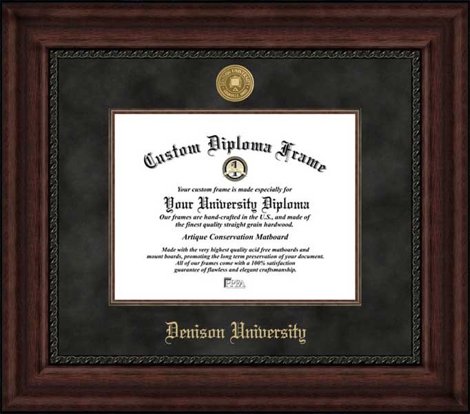 College - Denison University Big Red - Gold Medallion - Suede Mat - Mahogany - Diploma Frame