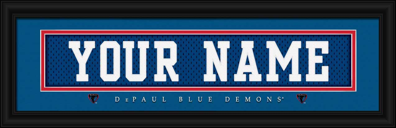 College - DePaul Blue Demons - Personalized Jersey Nameplate - Framed Picture