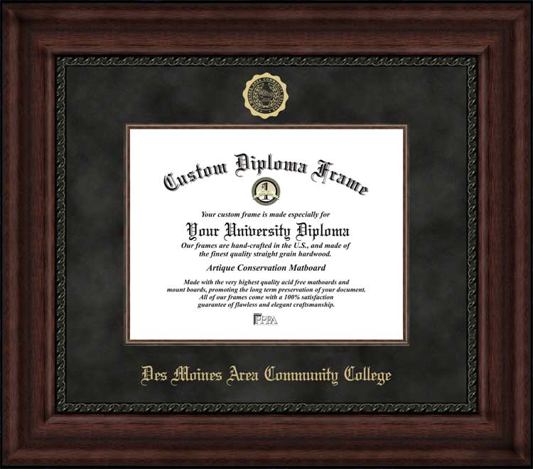 College - Des Moines Area Community College Bears - Embossed Seal - Suede Mat - Mahogany - Diploma Frame