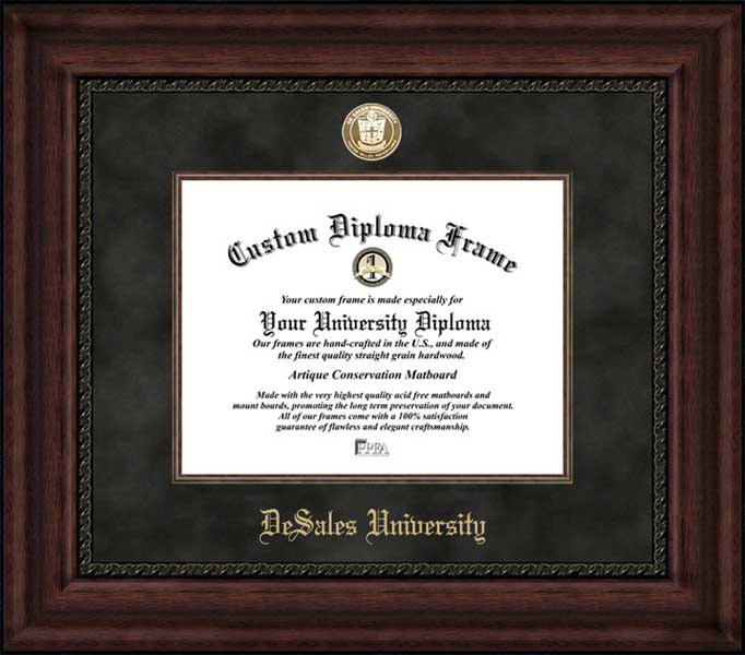 College - DeSales University Bulldogs - Gold Medallion - Suede Mat - Mahogany - Diploma Frame