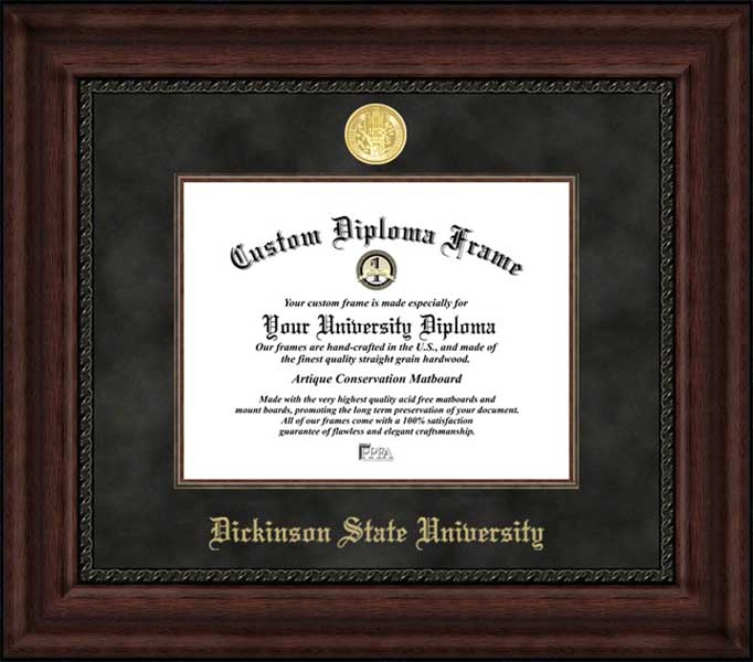 College - Dickinson State University Blue Hawks - Gold Medallion - Suede Mat - Mahogany - Diploma Frame
