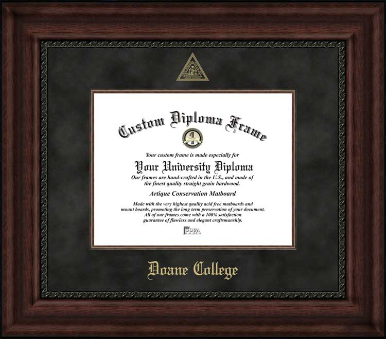 College - Doane College Tigers - Embossed Seal - Suede Mat - Mahogany - Diploma Frame