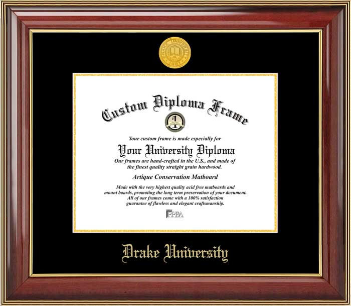 College - Drake University Bulldogs - Gold Medallion - Mahogany Gold Trim - Diploma Frame
