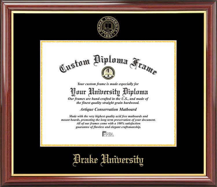 College - Drake University Bulldogs - Embossed Seal - Mahogany Gold Trim - Diploma Frame