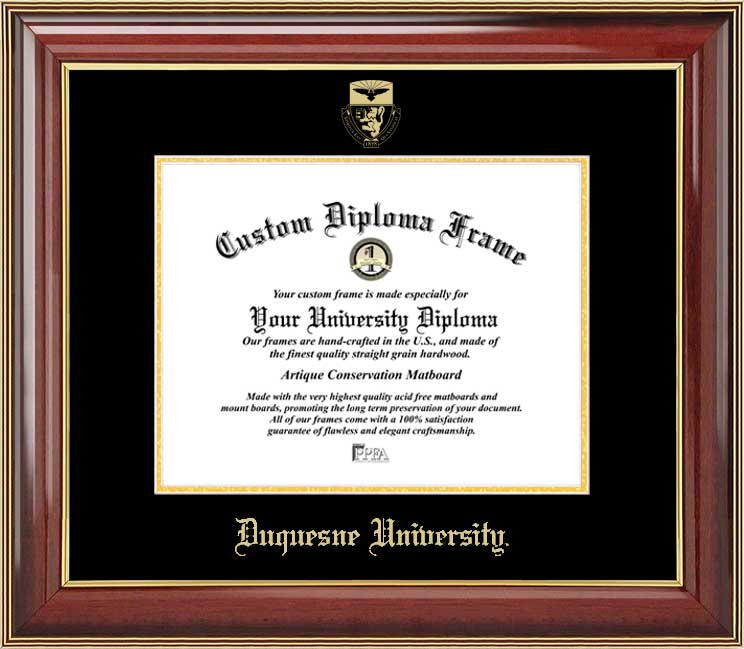 College - Duquesne University Dukes - Embossed Seal - Mahogany Gold Trim - Diploma Frame
