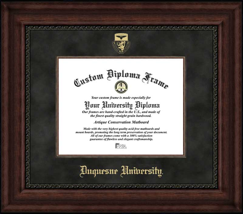 College - Duquesne University Dukes - Embossed Seal - Suede Mat - Mahogany - Diploma Frame