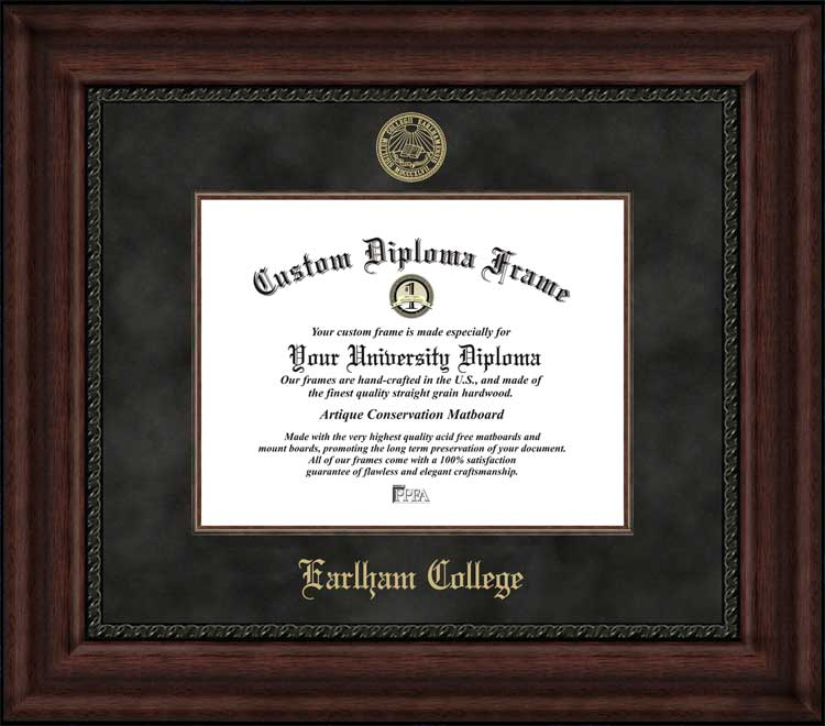 College - Earlham College Hustlin' Quakers - Embossed Seal - Suede Mat - Mahogany - Diploma Frame