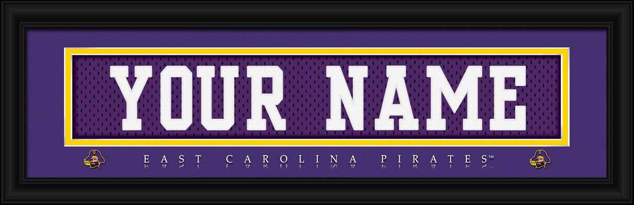 College - East Carolina Pirates - Personalized Jersey Nameplate - Framed Picture