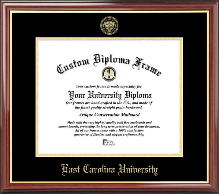 College - East Carolina University Pirates - Embossed Seal - Mahogany Gold Trim - Diploma Frame