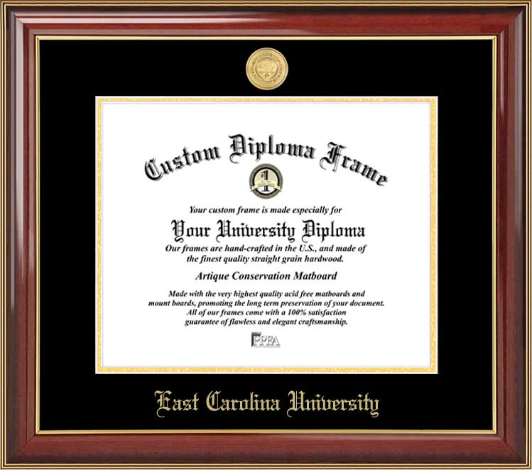 College - East Carolina University Pirates - Gold Medallion - Mahogany Gold Trim - Diploma Frame