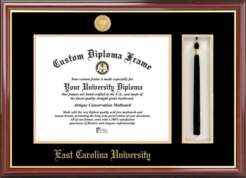 College - East Carolina University Pirates - Gold Medallion - Tassel Box - Mahogany - Diploma Frame