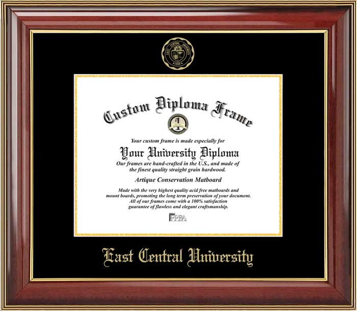 College - East Central University Tigers - Embossed Seal - Mahogany Gold Trim - Diploma Frame