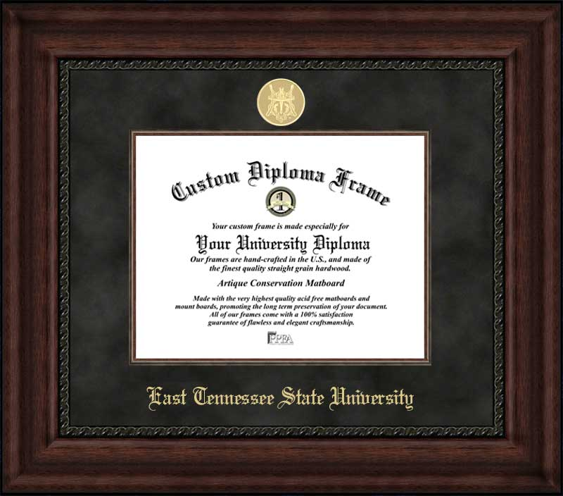 College - East Tennessee State University Buccaneers - Gold Medallion - Suede Mat - Mahogany - Diploma Frame