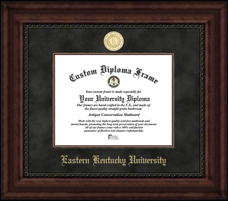College - Eastern Kentucky University Colonels - Gold Medallion - Suede Mat - Mahogany - Diploma Frame