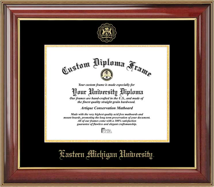 College - Eastern Michigan University Eagles - Embossed Seal - Mahogany Gold Trim - Diploma Frame