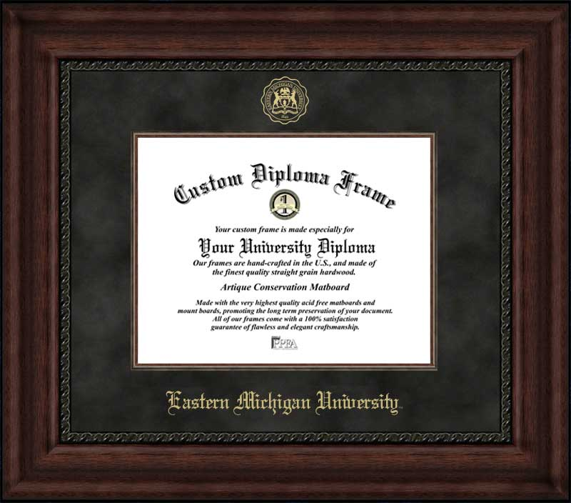 College - Eastern Michigan University Eagles - Embossed Seal - Suede Mat - Mahogany - Diploma Frame