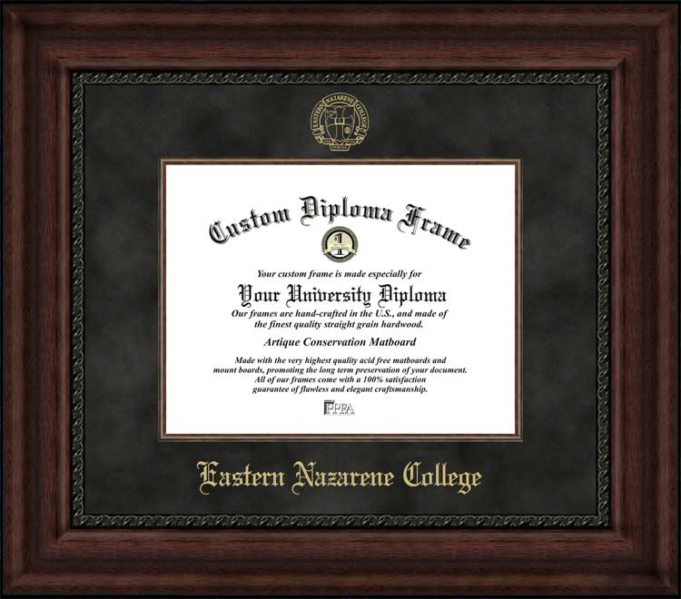 College - Eastern Nazarene College Lions - Embossed Seal - Suede Mat - Mahogany - Diploma Frame