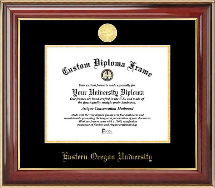 College - Eastern Oregon University Mountaineers - Gold Medallion - Mahogany Gold Trim - Diploma Frame
