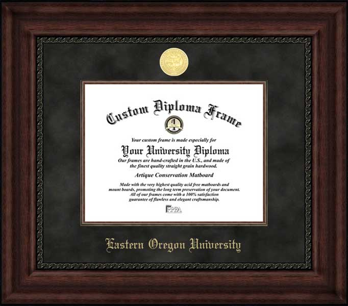 College - Eastern Oregon University Mountaineers - Gold Medallion - Suede Mat - Mahogany - Diploma Frame