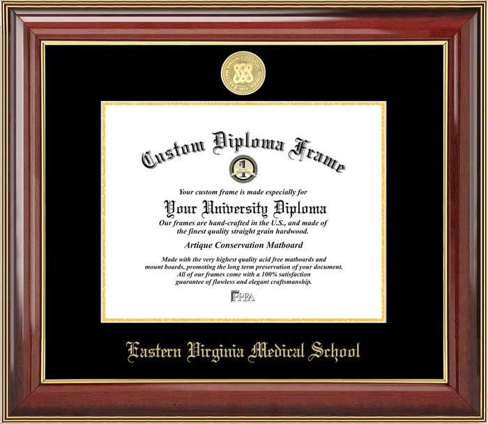 College - Eastern Virginia Medical School  - Gold Medallion - Mahogany Gold Trim - Diploma Frame