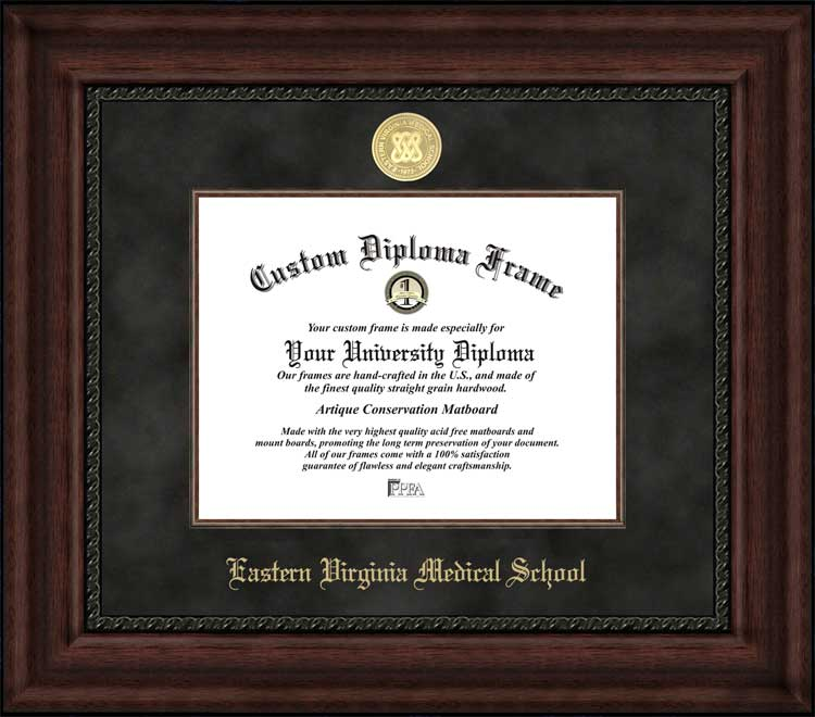 College - Eastern Virginia Medical School  - Gold Medallion - Suede Mat - Mahogany - Diploma Frame