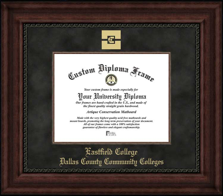 College - Eastfield College  - Embossed Logo - Suede Mat - Mahogany - Diploma Frame