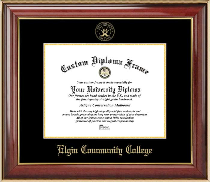College - Elgin Community College  - Embossed Seal - Mahogany Gold Trim - Diploma Frame