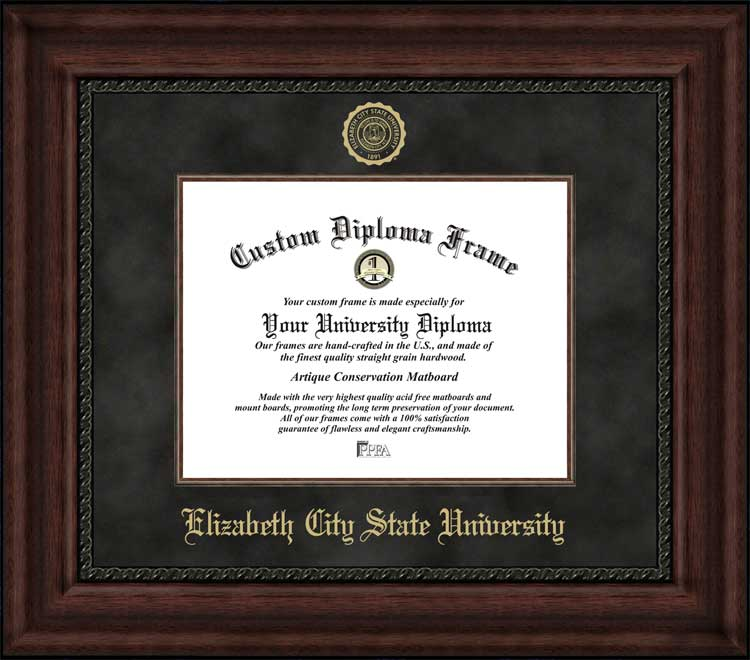 College - Elizabeth City State University Vikings - Embossed Seal - Suede Mat - Mahogany - Diploma Frame