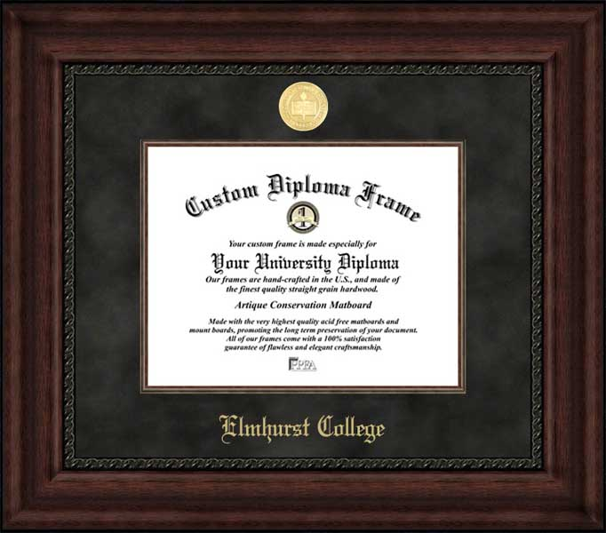 College - Elmhurst College Blue Jays - Gold Medallion - Suede Mat - Mahogany - Diploma Frame