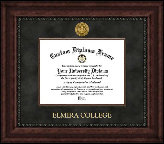College - Elmira College Soaring Eagles - Gold Medallion - Suede Mat - Mahogany - Diploma Frame