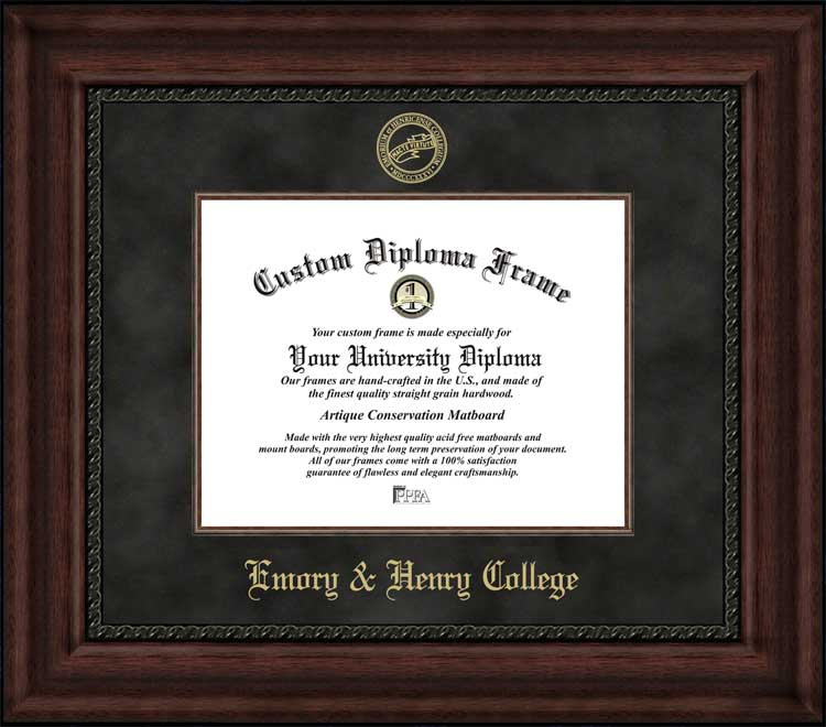 College - Emory & Henry College Wasps - Embossed Seal - Suede Mat - Mahogany - Diploma Frame