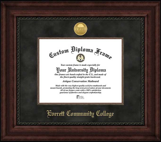College - Everett Community College Trojans - Gold Medallion - Suede Mat - Mahogany - Diploma Frame