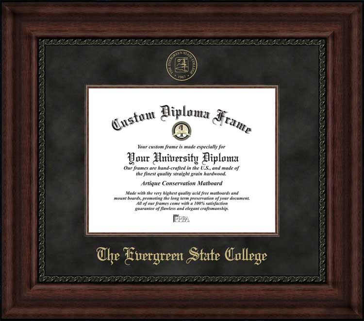 College - Evergreen State College Geoducks - Embossed Seal - Suede Mat - Mahogany - Diploma Frame